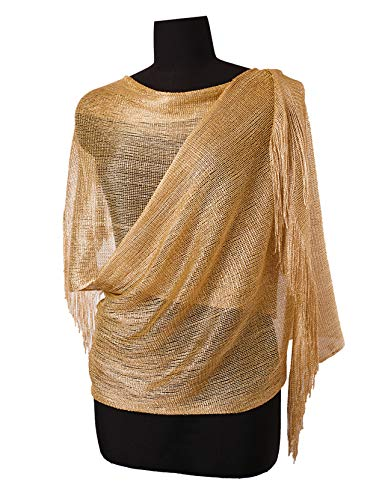 Womens Wedding Evening Wrap Shawl Glitter Metallic Prom Party Scarf with Fringe, 3 Metallic Gold from MissShorthair