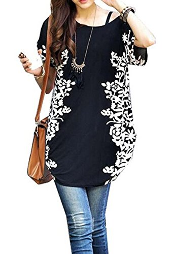 Relipop Women Summer Tunic Short Sleeve Casual Loose Blouse Top (Medium, Black)
