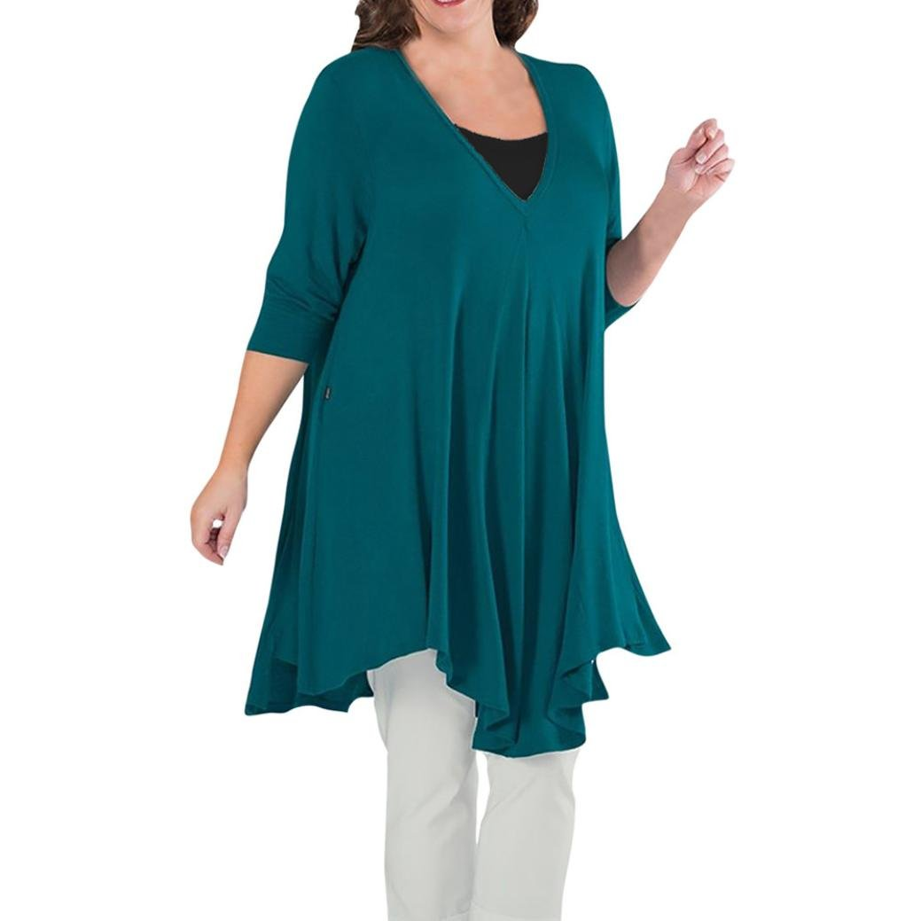 Toimoth Plus Size Women Casual Loose Solid Long Sleeve Cotton Tops T-Shirt Blouse(Blue,4XL) by Toimoth Tops (Image #1)