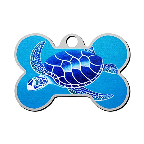 XInhaoLEI Blue Turtle Dog Tags Personalized Double Sided Stainless Steel Pet ID Tag