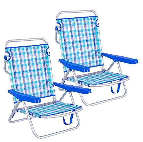 🥇 LOLAhome Pack de 2 sillas de Playa Convertibles en Cama de Aluminio y textileno