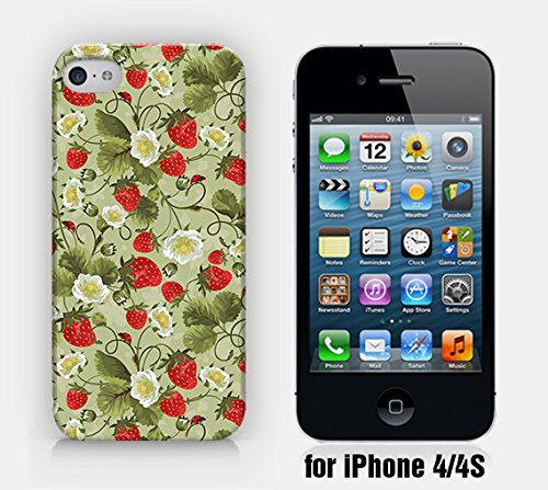 for iPhone 4/4S - Strawberry Pattern - Floral Pattern - Tropical Pattern - Fruit Pattern - Hipster - Ship from Vietnam - US Registered Brand