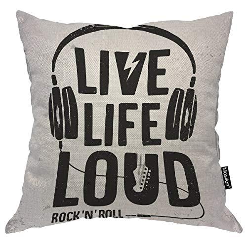 Moslion Music Pillows Rock N Roll Festival Live Life Loud Headphone Guitar Throw Pillow Cover Decorative Pillow Case Square Cushion Accent Cotton Linen Home 18x18 Inch ()