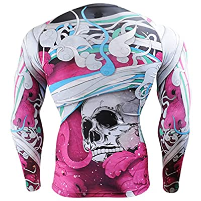 Fixgear Mens Womens MMA Running Printed Compression Shirt Long sleeve Top S ~ 4XL