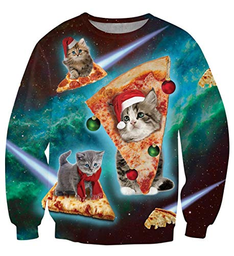 (Uideazone Ugly Cat Eat Pizza Shirt Women Men Christmas Pullover Sweatshirts X-mas Gift)
