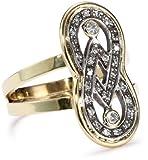 "Moritz Glik ""Kaleidoscope"" 18K Gold and Pave Diamond Infinity Ring, Size 7"