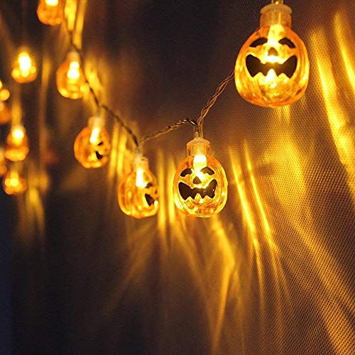 Pumpkin String Lights Battery Operated, Halloween Jack-O-Lantern 3D 20 LED Decoration Lights for Welcoming Horror Nights