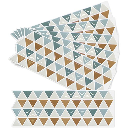 Home Decor Triangle Mosaic Kitchen Bathroom Beauty 3D Wallpaper Sticker Tile - Easy & Flexible Installation, Removable, Kitchen Backsplash Resistant to Fire - 5+1 Sheets (N.A.P.T) ()