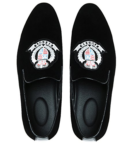 Rond Décontracté Mocassins Chaussures Brodé Hommes Enfiler Pantoufle Groove En Mocassins Noir Bout Santimon Mode Daim À P07rPxn
