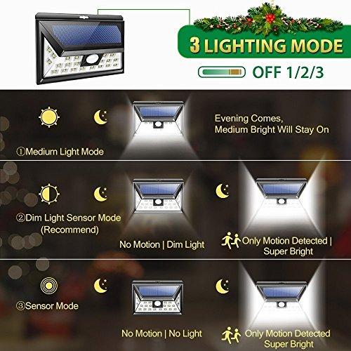 Hardoll 24 Led Solar Lights Wide Angle Outdoor Motion Sensor With 3 Leds (Both Side For Driveway)