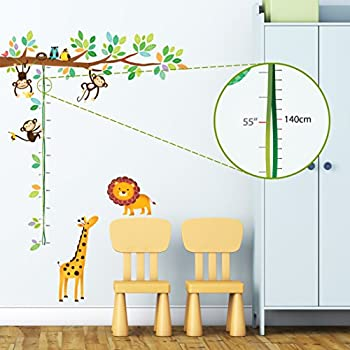 Decowall DW 1402 Little Monkeys Tree And Animals Height Chart Kids Wall  Decals Wall Stickers Part 91