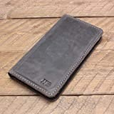 Personalized Magnetic Leather Phone Wallet for iPhone 6/6S, 6/6S Plus, 7/8, 7/8 Plus, X, XR, XS, XS MAX, Samsung Galaxy S8, S8 Plus, S9, S9 Plus, Note 8 - McLean Rock Gray