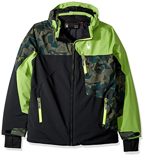 Spyder Boy's Ambush Ski Jacket, Black/Mini Guard Camo/Fresh, Size - Clothing Ambush