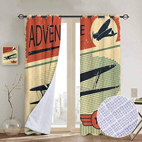 Chrome Pedal Plane - NUOMANAN Kitchen Curtains Vintage,Nostalgic Small on Dotted Grunge Backdrop Military Adventure Airpark Plane Graphic,Multicolor,Rod Pocket Drapes Thermal Insulated Panels Home décor 84