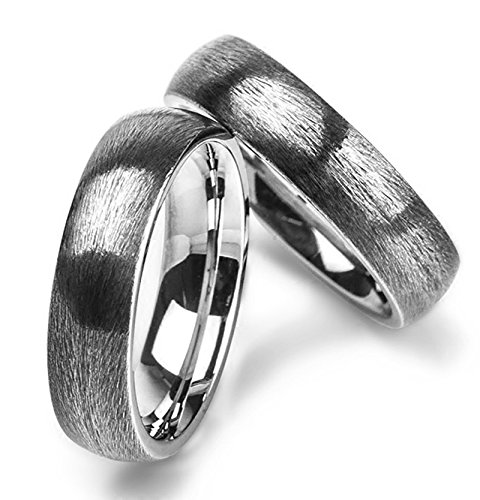 Aokarry Men Stainless Steel Bands Rings Vintage Brushed Surface Silver Size 8 Width 2.6CM