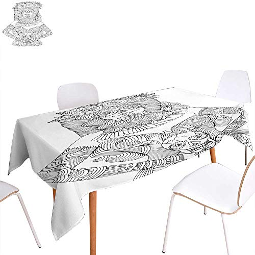 (Tassel Tablecloth Girl with Calavera Makeup Holding Sugar Skull Halloween Coloring Page Rectangle/Oblong W 60