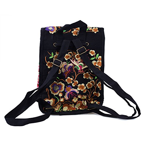 Shoulder Bag Double Travel CARE Embroidery Peony Vintage Red Ethnic Backpack YUENA wFxg4087qF