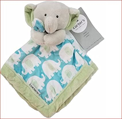 Baby Carters Elephant Security Baby Blanket Green Gray Aqua Blue Lovey Plush Soft Toy