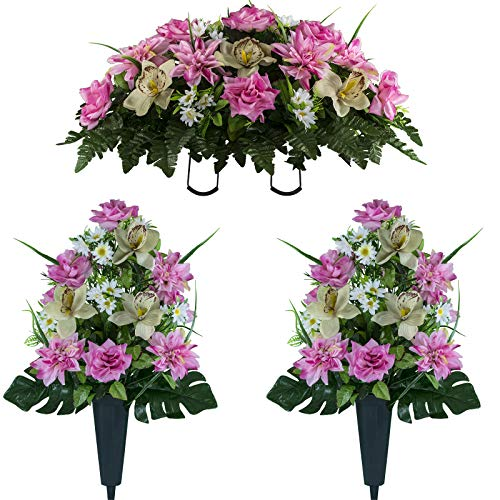 Sympathy Silks Artificial Cemetery Flowers - Realistic Elegant Orchids, Outdoor Grave Decorations - Non-Bleed Colors and Easy Fit - Two Pink Almond Orchids Bouquets and One Pink Almond Orchids Saddle