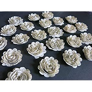 "Scalloped Book Page Roses, Paper Flowers Wedding Decorations, 24 Piece Set, Mini 1.5"" Floral Bridal Shower Table Decor, Graduation or Teacher Gift 51"