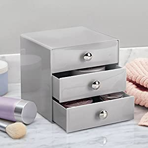 InterDesign Three Drawer Storage Organizer for Cosmetics, Makeup, Beauty Products and Office Supplies - Gray