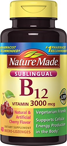 Nature Made Sublingual Vitamin B12 3000 mcg. Cherry Flavored Lozenges 40 Ct