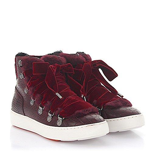Sneaker 60278 High Top Leder Samt Bordeaux Krokodilprägung Fell