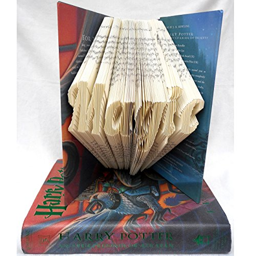 Hand Folded Book Art Sculpture, Magic, Gift for 1st Anniversary Harry Potter Fan Geek Fantasy Lover by Dreamscape Studio