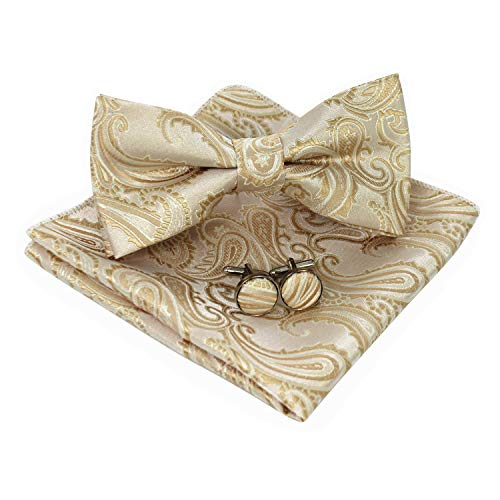 JEMYGINS Mens Gold Paisley Bow Tie and Pocket Square With Cufflinks Set(3)