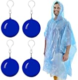 Emergency Rain Poncho with Hood Packaged in Plastic Keychain Ball - One Size Fits All - Commuter Rain Poncho Survival Kit Accessory for Travel Backpacking Picnics Camping Sporting Outdoor Events 4Pk