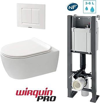 Pack de WC suspendido autoportante Compact - Bastidor, inodoro sin brida, tapa y placa 3/6 L: Amazon.es: Bricolaje y herramientas