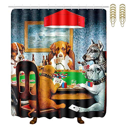 MAHENSHANGM Dogs Playing Poker Funny Shower Curtain Bathroom Decor Set with 12 White Hooks and Golden Hooks Rings 70 X 70 Inch