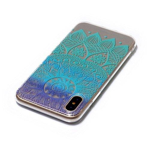 Hülle iPhone X , LH Mandala Windspiele TPU Weich Muschel Tasche Schutzhülle Silikon Handyhülle Schale Cover Case Gehäuse für Apple iPhone X
