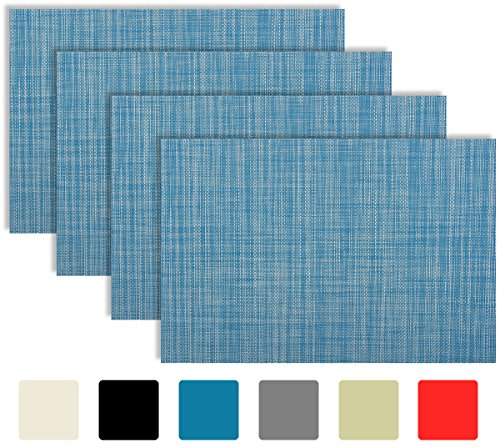 Under Construction Placemat (Placemat Set of 4/6 Cross Bamboo Style Kitchen Table Decor Woven Vinyl Table Placemats Set Home Dinner Decorative Reversible by Secret Life (4,Blue))