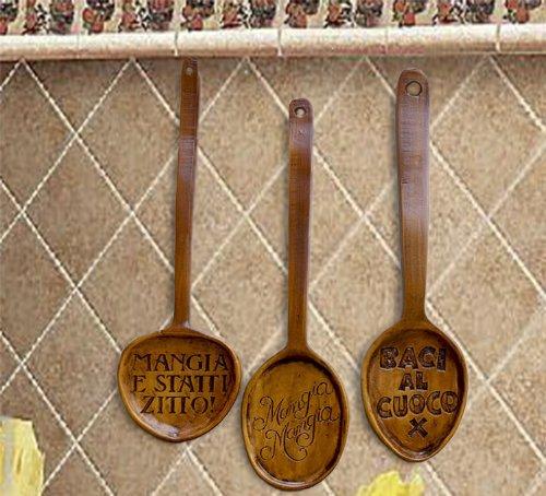 Italian Kitchen Decor Decorative Spoons, Set of 3 Spoons