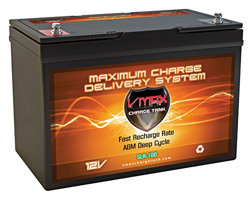 Vmaxtanks VMAXSLR100 AGM Sealed deep cycle 12V 100AH battery for Use with gas or electric power backup generator or smart charger for off grid power systems