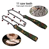 Pocket Chain Saw Portable Folding Survival Hand Chain Saw Camouflage Camping Chainsaw Emergency Rescue Tools for Hiking Hunting Gardening and Outdoor