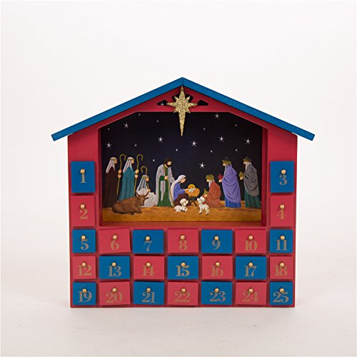 Glitzhome Handcrafted Wooden House Count Down Advent Calendar with Drawer by Glitzhome