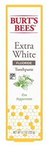 Burts Bees Toothpaste Extra White 4.7 Ounce Zen Peppermint (3 Pack)