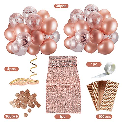 CHERRYLIFE 236 Rose Gold Decorations Assortment, Including Confetti Rose Gold Balloons, Paper Straws, Sequin Table Runner & Rose Gold Paper Confetti Party, Bachelorette Party, Baby Shower Decorations
