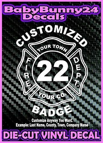 Custom FIREFIGHTER Badge Fireman Decal Vinyl Sticker fire personalized shield