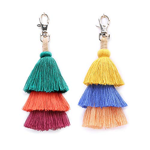 Tassel Pom Pom Key Chain Colorful Boho Charm Key Ring, Fashion Accessories for Women - Key Chain Beaded