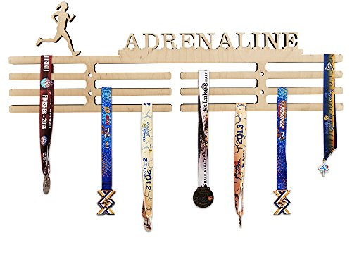 - Arena Gifts Wooden Running Medal Hanger Display - Adrenaline - Medal Holder - Rack Idea for Female Woman Women Runners - Displays Up to 24 Medals or Ribbons
