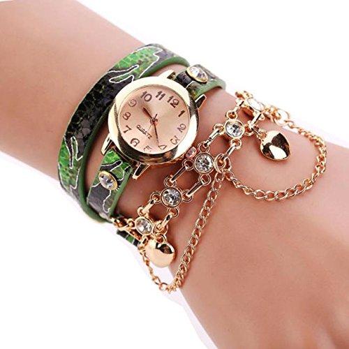 - HunYUN Women Customized Gift Leather Rhinestone Rivet Chain Quartz Bracelet Wristwatch Watch Two-Tone Chain Link Strap