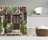 Spanish House Picture Colorful Flowers Multicolor Print Polyester - Best Reviews Guide