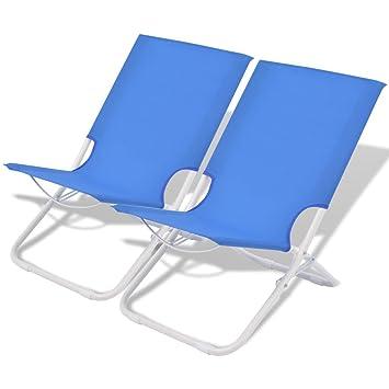 vidaXL Sillas Camping Playa Plegables 48x60x62 cm Azul ...