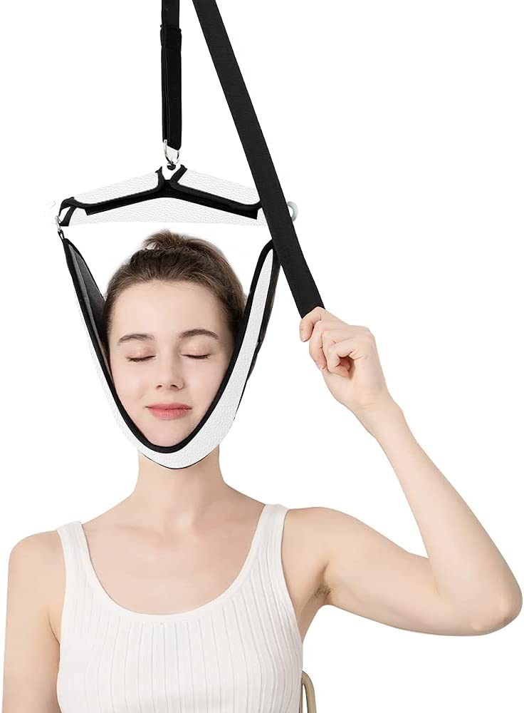 Cervical Neck Traction Device Portable Over Door Device for Neck Pain Relief, Overhead Traction Stretcher Home Physical Therapy for Arthritis, Disc Bulges and Spinal Decompression(White)