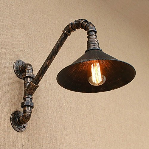 HOMEE Wall lamp- american village industrial wind umbrella retro iron wall lamp aisle decoration bar creative water pipe wall lamp --wall lighting decorations by HOMEE