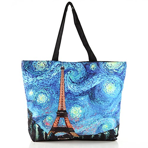 Vintga Large Printed Design Ladies Zipper Shoulder Shopping Women Handbags Tote Bags (Star - Shops Water Tower Place