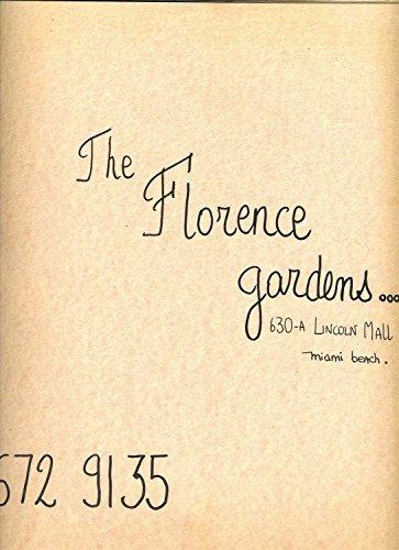The Florence Gardens Restaurant Menu Lincoln Mall Miami Beach Florida 1970's -